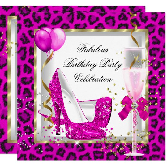 Hot Pink Gold Glitter High Heels Birthday Party Card