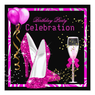 Hot Pink Gold Glitter Zebra Black Birthday Party 13 Cm X 13 Cm Square Invitation Card