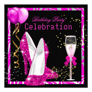 Hot Pink Gold Glitter Zebra Black Birthday Party Personalized Invite