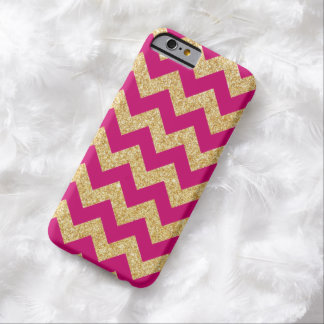 Hot Pink Gold Glitter Zigzag Chevron Pattern Barely There iPhone 6 Case