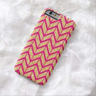 Hot Pink Gold Sparkle Zigzag Chevron Pattern Barely There iPhone 6 Case