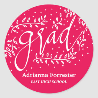 Hot Pink Grad Typography Whimsical Round Sticker