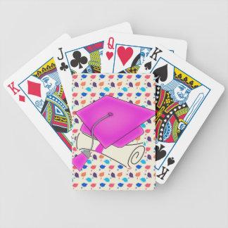 Hot Pink Graduation Cap and Diploma, Colorful Cap Bicycle Playing Cards