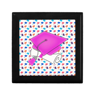 Hot Pink Graduation Cap and Diploma, Colorful Cap Gift Box