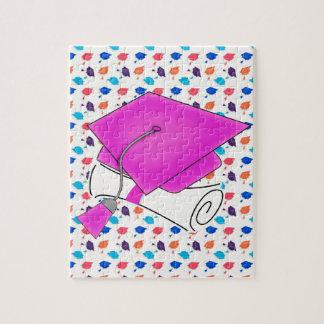 Hot Pink Graduation Cap and Diploma, Colorful Cap Jigsaw Puzzle