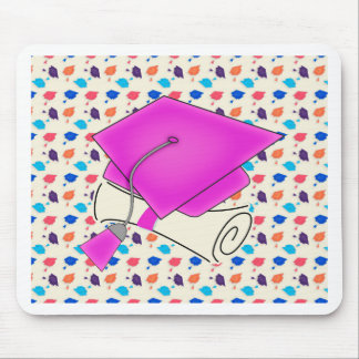 Hot Pink Graduation Cap and Diploma, Colorful Cap Mouse Pad