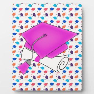 Hot Pink Graduation Cap and Diploma, Colorful Cap Photo Plaque
