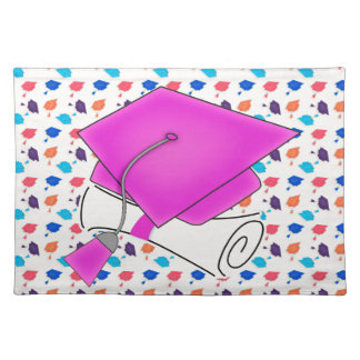 Hot Pink Graduation Cap and Diploma, Colorful Cap Placemat