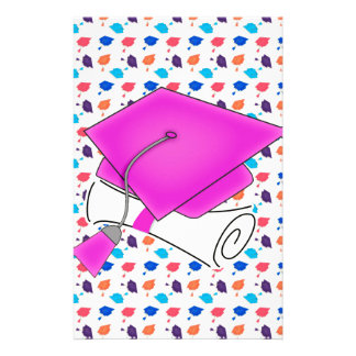 Hot Pink Graduation Cap and Diploma, Colorful Cap Stationery