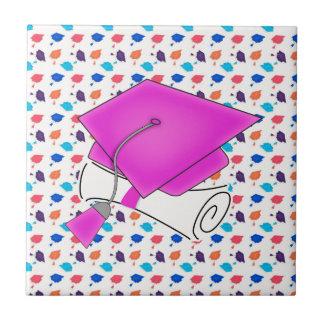 Hot Pink Graduation Cap and Diploma, Colorful Cap Tile