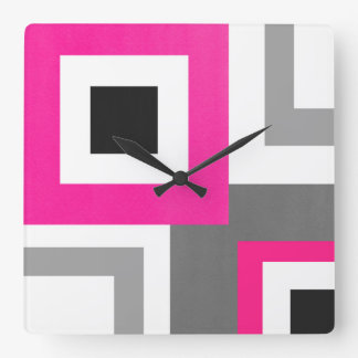 Hot Pink Gray Black White Geometric Squares Square Wall Clock