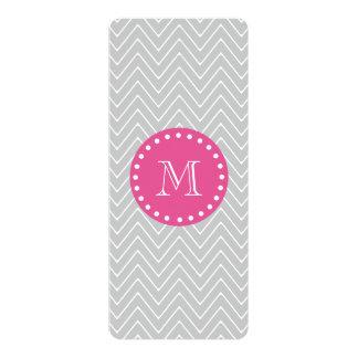 Hot Pink, Gray Chevron | Your Monogram 10 Cm X 24 Cm Invitation Card