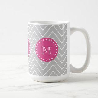 Hot Pink, Gray Chevron | Your Monogram Basic White Mug