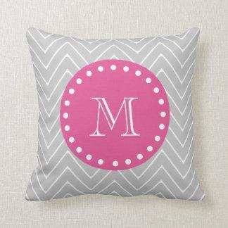 Hot Pink, Gray Chevron | Your Monogram Throw Pillow