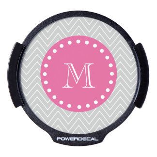 Hot Pink, Gray Chevron | Your Monogram LED Car Window Decal