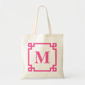 Hot Pink Greek Key Border Custom Monogram Bag
