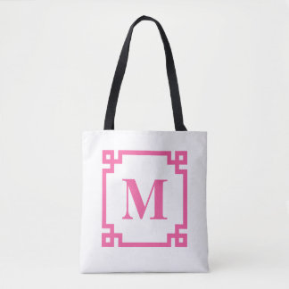 Hot Pink Greek Key Border Custom Monogram Tote Bag