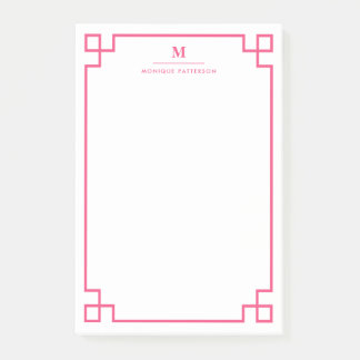 Hot Pink Greek Key Border Monogram Personalized Post-it Notes