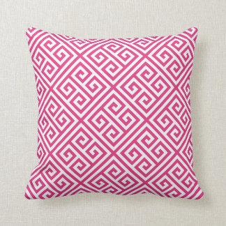 Hot Pink Greek Key Pattern Cushion