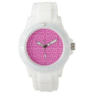 Hot Pink Greek Swirls Wristwatch