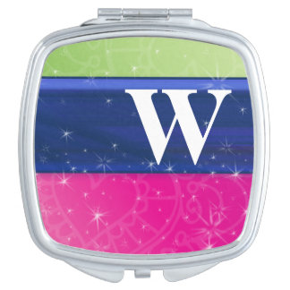 Hot Pink Green Blue 80s Colors Glitter Monogram Travel Mirror