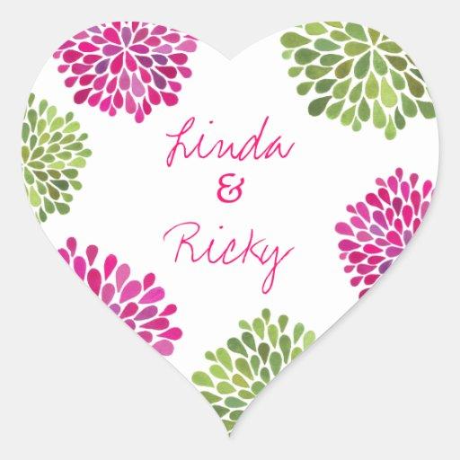 Hot Pink & Green Heart Blooms Wedding Sticker Seal