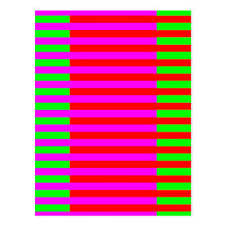 Hot Pink Green Red Stripes Postcard