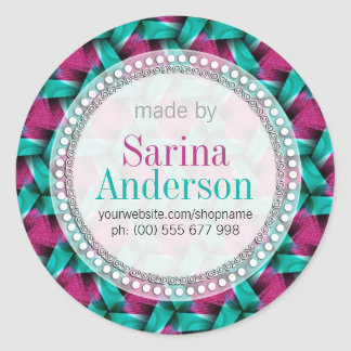 Hot Pink & Green Weave Pattern Made By Labels Round Sticker