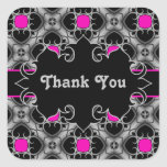 Hot pink, grey, and black elegant mediaeval square stickers