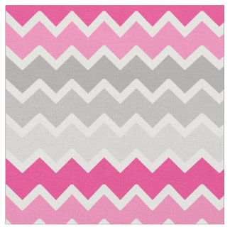 Hot Pink Grey Gray Ombre Chevron Zigzag Pattern Fabric