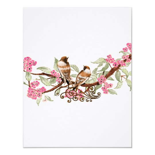 Hot Pink & Grey Vintage Birds Wedding RSVP Card