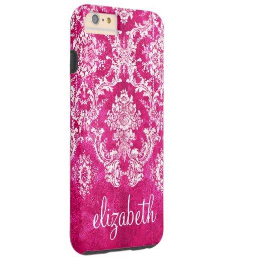 Hot Pink Grunge Damask Pattern Custom Text Tough iPhone 6 Plus Case