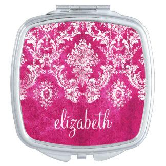 Hot Pink Grunge Damask Pattern Custom Text Vanity Mirror