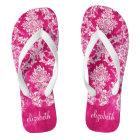 Hot Pink Grunge Damask Pattern Custom Text Thongs