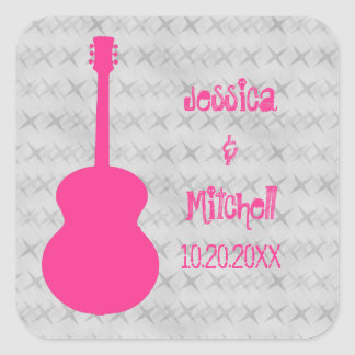 Hot Pink Guitar Grunge Wedding Stickers