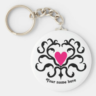 Hot pink heart basic round button key ring