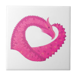 Hot pink heart dragon on white ceramic tile