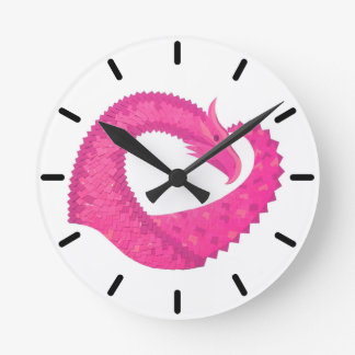 Hot pink heart dragon on white round clock
