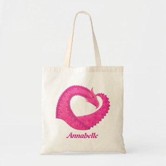 Hot pink heart dragon on white tote bag