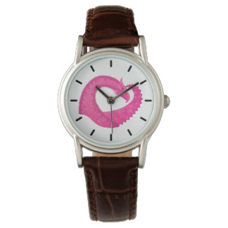 Hot pink heart dragon on white watch