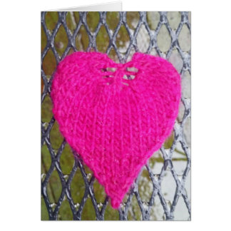 Hot Pink Heart on Mesh Card