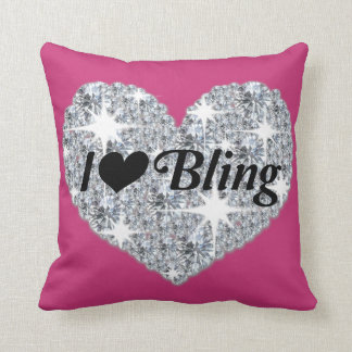 Hot Pink heart pillow with I love Bling
