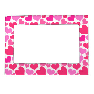 Hot Pink Hearts Bursting With Love Magnetic Photo Frame