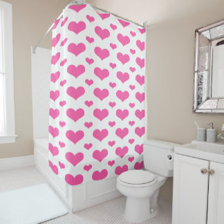 Hot Pink Hearts in a Row Shower Curtain