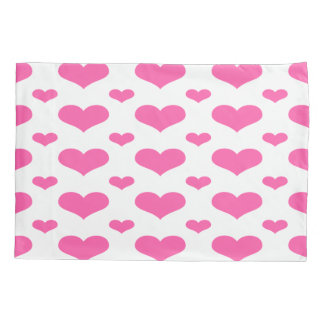 Hot Pink Hearts in Row Pattern Single Pillowcase