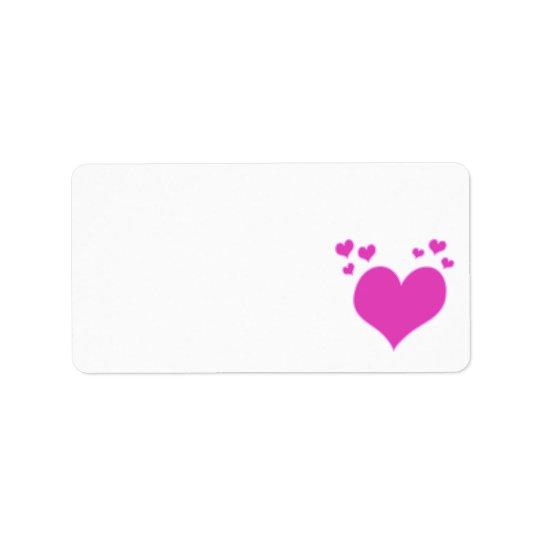 Hot Pink Hearts Valentine's Day Wedding etc Address Label