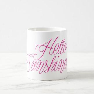 Hot Pink Hello Sunshine! Basic White Mug