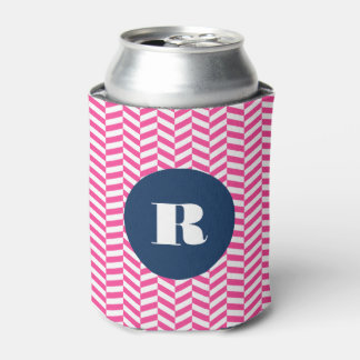 Hot Pink Herringbone Pattern Monogram  Can Cooler