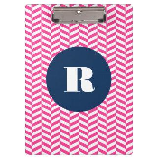Hot Pink Herringbone Pattern Monogram Clipboard