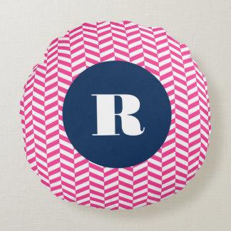 Hot Pink Herringbone Pattern Monogram Round Pillow